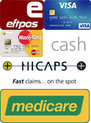 Payment methods: credit card, cash, HICAPS, Medicare.